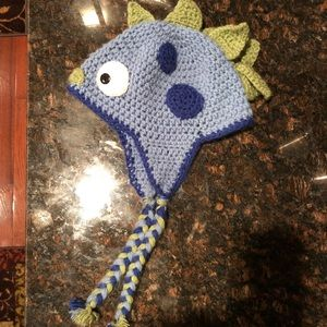 Other - Winter dinosaur/monster hat, hand knit blue hat